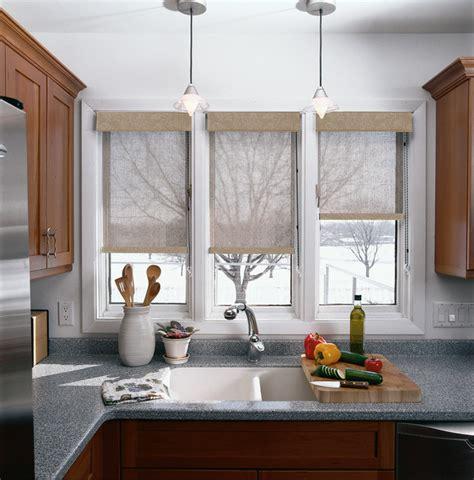 modern kitchen window treatments solar roller dual shades contemporary kitchen