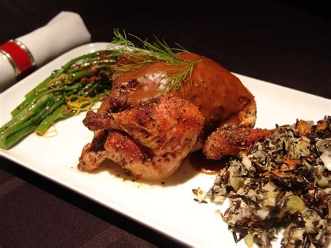 Main Course Meat Dishes - oven roasted game hens with pan gravy and wild rice and mushroom dressing 5starsinyourkitchen