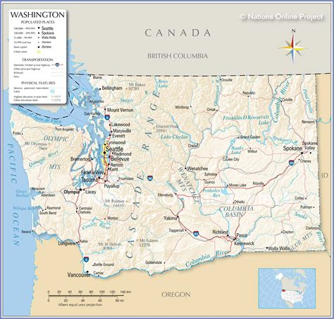 reference maps  state  washington usa nations