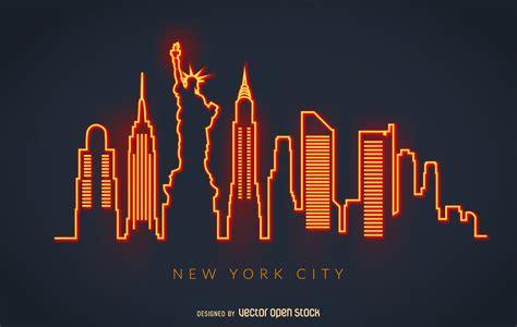 Tshirt Building Skyline new york neon skyline vector