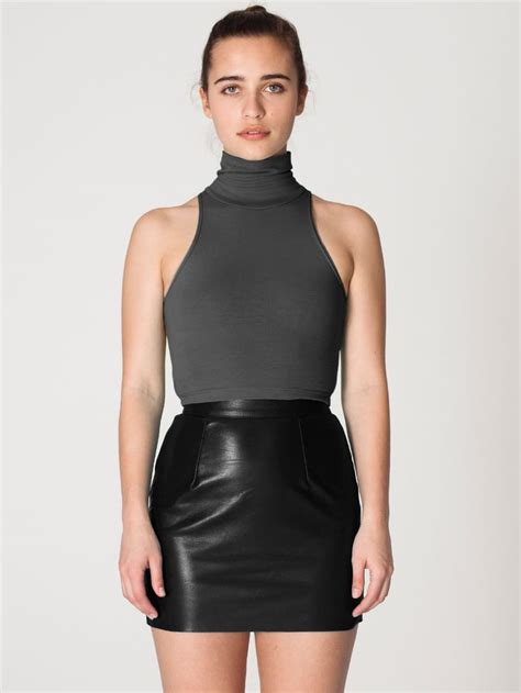 the leather mini skirt in black by americanapparel