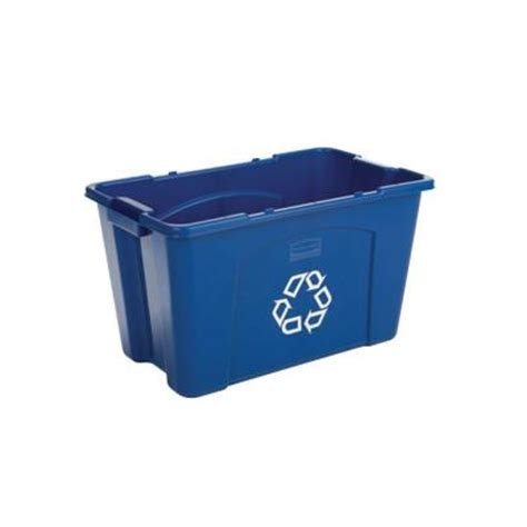 rubbermaid commercial products 18 gal blue recycling bin