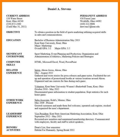 curriculum vitae sle for college students cv for undergraduate students undergraduate student resume