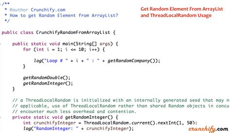 java tutorial threadlocal in java how to get random element from arraylist and