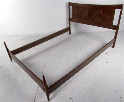 mid century bed frame mid century sculpted walnut bed frame at 1stdibs