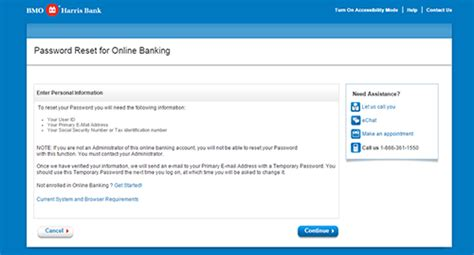 reset online banking password bmo bmo harris internet online banking sign in login banking