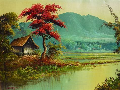 acrylic paint jakarta colorful landscape painting of tropical asian