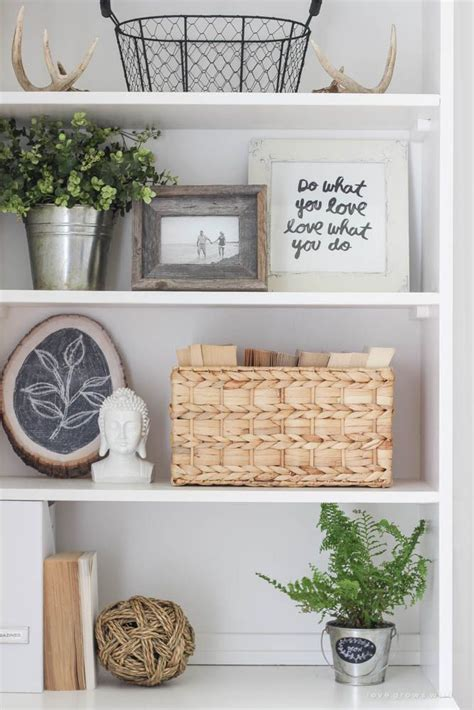 home decor bookshelf office makeover reveal decorating check and greenery