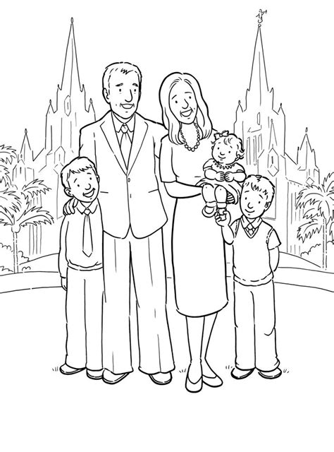 a happy family at the san diego temple a primary coloring