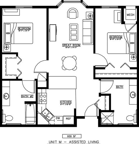 2 bedroom unit floor plans units plans and photos senior housing floor plans