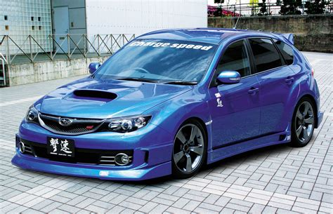 subaru wrx custom blue custom subaru sti with charge speed body kit picture