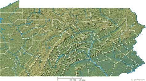 pennsylvania physical map map of pennsylvania