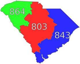 list of south carolina area codes