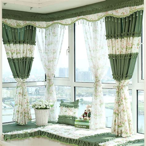 decorative window curtains decorative bay window curtains in beige and green color