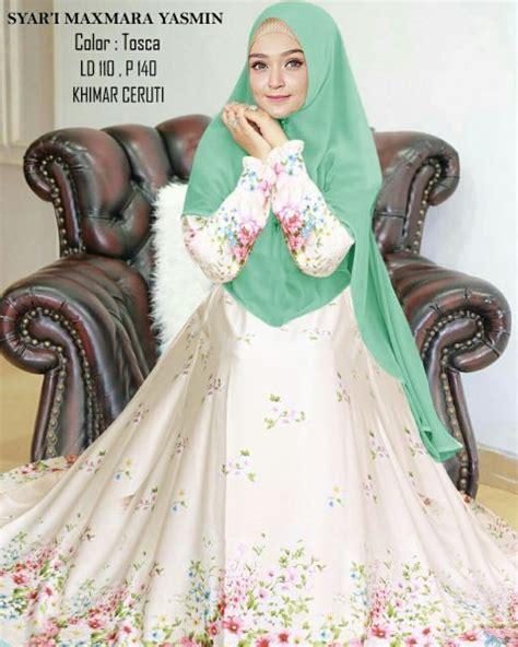 Gamis Yasmin Syari syari maxmara yasmin motif bunga butik jingga