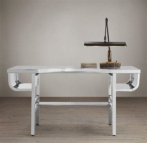 restoration hardware desk factory metal desk polished chrome i restoration hardware