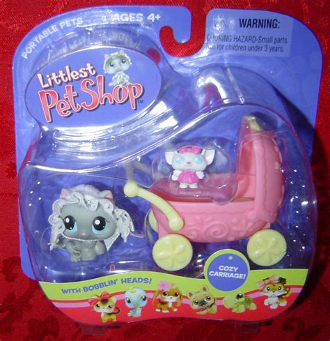 Pet Shop Singles A Mouse kitten with mouse cozy carriage littlest pet shop