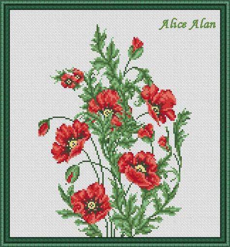 pattern of flower arrangement cross stitch pattern flowers infinite magic red poppies