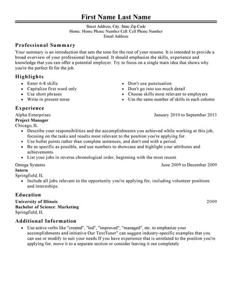 Resume Template For by Free Resume Templates Fast Easy Livecareer