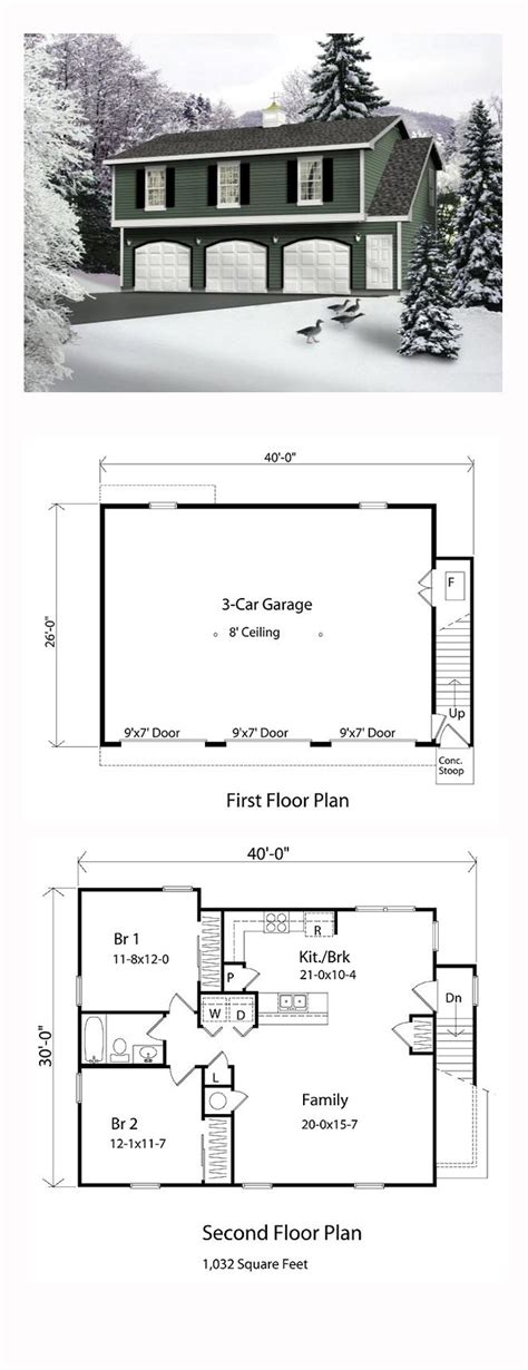 garage plans with living area garage apartment plan 49029 total living area 1032 sq