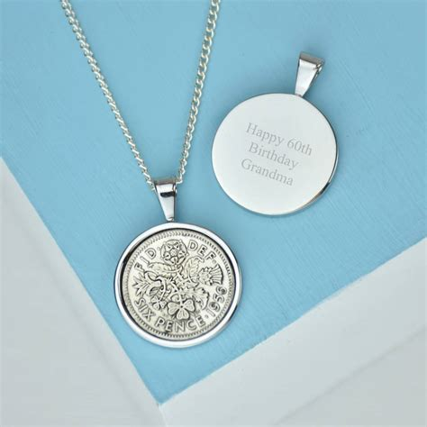 sixpence 60th 1956 birthday coin necklace by ellie ellie