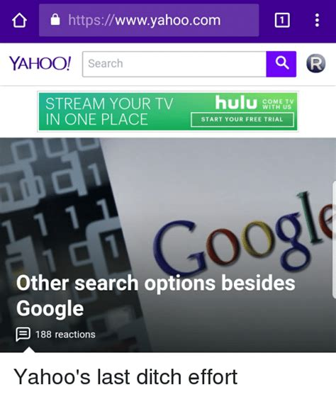 Free Search Yahoo Httpswwwyahoocom Yahoo Search Your Tv Hul In One Place C Start Your Free Trial