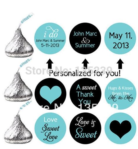 300pcs Stickers For Hershey S Kisses Wedding Favors Personalized Labels Wedding Turquoise Black Personalized Hershey Kisses Stickers Template