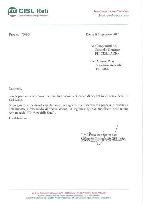 lettere dimissioni ama bufera cisl ecco la lettera di dimissioni corriere it