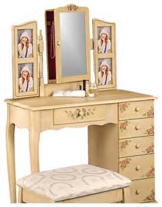 Vanity Table Pop Up Mirror Coaster Painted Wood Makeup Vanity Table Set With