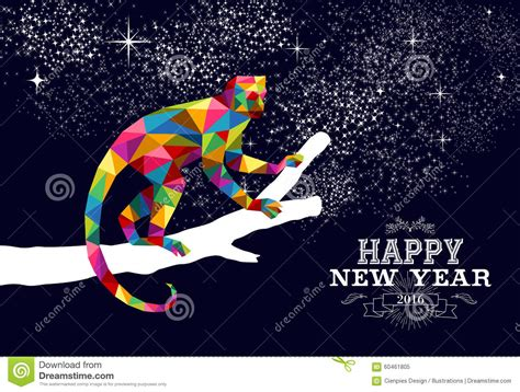 new year 2016 monkey color happy new year monkey 2016 triangle color stock