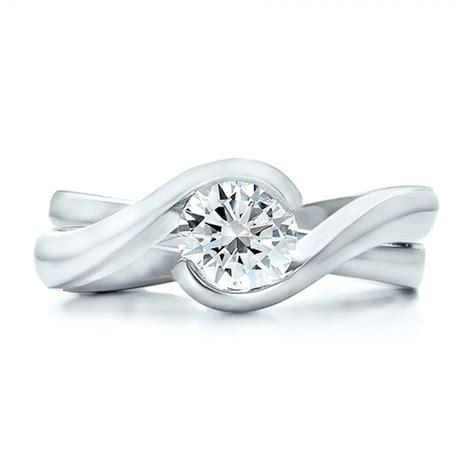 custom solitaire interlocking engagement ring 100623