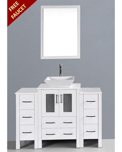 white square vessel white 48in square vessel single vanity by bosconi