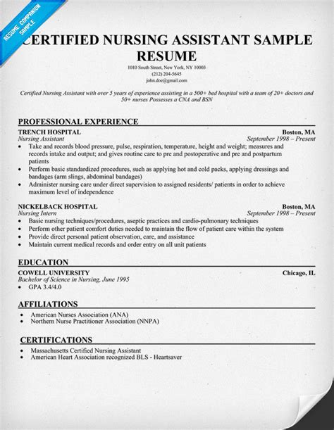 Nursing Assistant Certified Resume Sle Resume Nursing Assistant