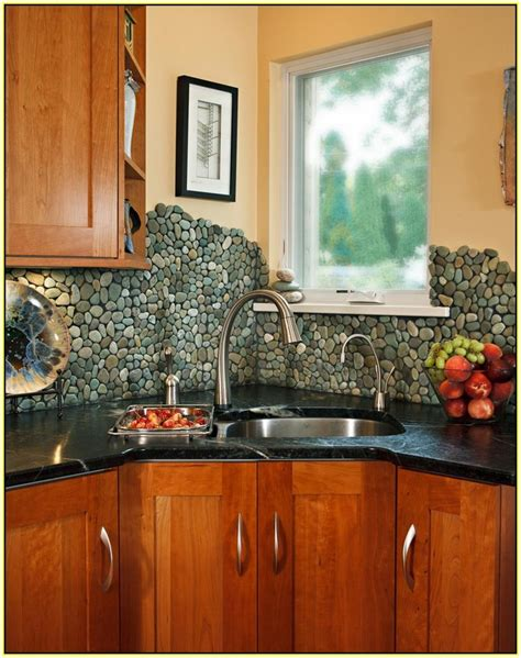 rock backsplash kitchen river rock tile sheets homesfeed