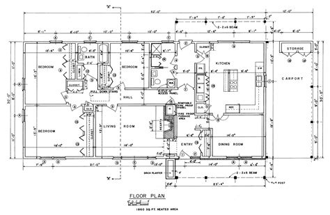 floor plan blueprints free 3 bedroom ranch house plans with carport