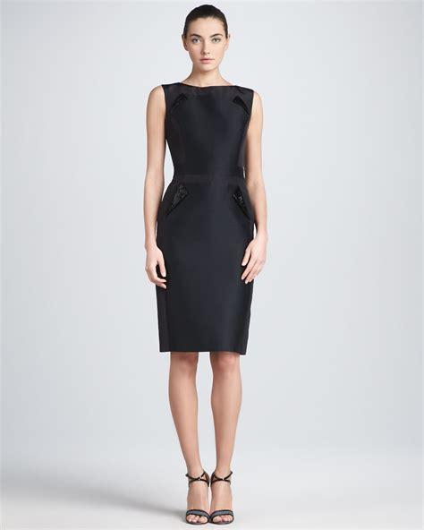 sleeveless dress carolina herrera sleeveless mikado sheath dress black in