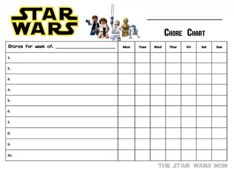 lego star wars free printable chore chart to do with the