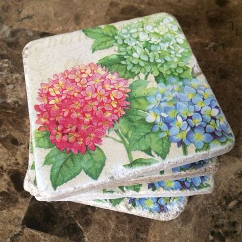 Decoupage Coasters - flowers tile coasters hydrangeas on tiles
