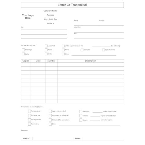 11 transmittal form sample template inspiration on refreshing 923