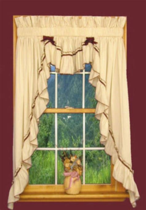 Country Cabin Curtains Primitive Country Ruffled 3 Pc Swag Curtain Sets Rustic Cottage Cabin Ebay