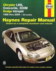 old car owners manuals 2004 dodge intrepid head up display 1998 2004 chrysler lhs concorde 300m intrepid haynes repair manual