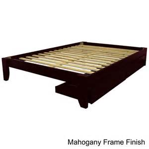 Wood King Platform Bed With Drawers Scandinavia King Size Solid Wood Tapered Leg With Storage