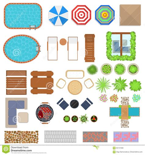 cartoon landscape design elements set top view vector