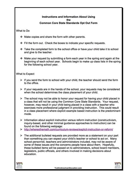 ccss opt out form stop common core in washington state