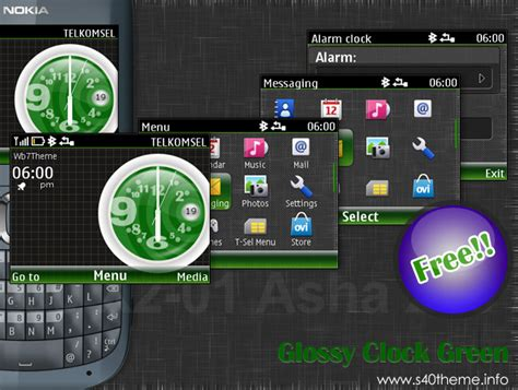 themes of nokia asha 201 glossy clock theme c3 00 i free nokia series 40 themes