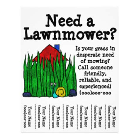 lawn mowing flyer template free lawn mower flyers programs zazzle