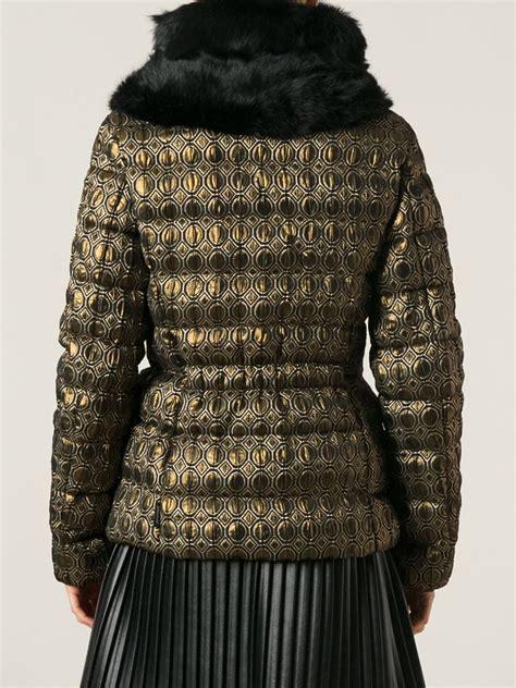 geometric pattern jacket moncler geometric pattern padded jacket in metallic lyst