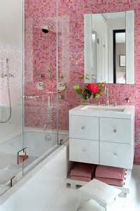 contemporary bathroom features pink grid tiled wall lined with tile circa