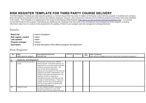 How To Do A Risk Register Third Risk Management Policy Template