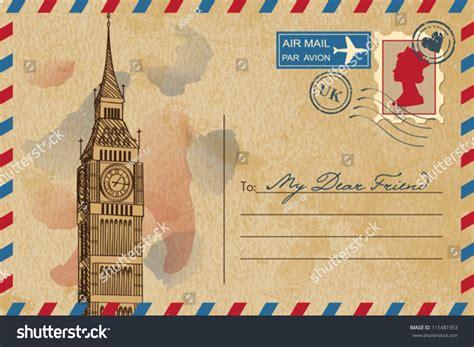 Big Picture Post by Vintage Postcard Big Ben Stock Vector 115481953